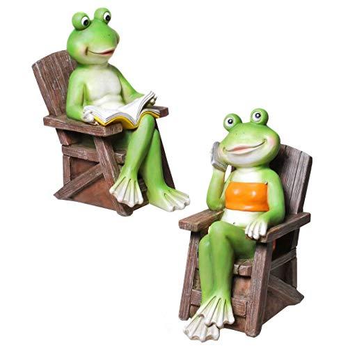 Froschpaar im Gartenstuhl 20 cm Froschfigur Dekofrosch Froschdeko Skulptur Frosch Gartenfigur Gartendeko Frösche
