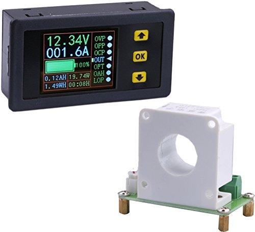 Yeeco Digital DC Voltmeter Amperemeter Multimeter, 10-90V 0-200A LCD Farbe Anzeigen Stromspannung Ampere Leistung Watt Coulomb Kapazität Zeit Meter Prüfer Testen Detektor mit Hallsensor (Detektor Dc-spannung)