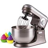 Knetmaschine mit 5 L Edelstahl-Rührschüssel | für 1 Eiweiß geeignet | Planetenrührwerk | Edelstahl-Schneebesen | Rührmaschine | Teigmaschine | Küchenmaschine Spritzschutz