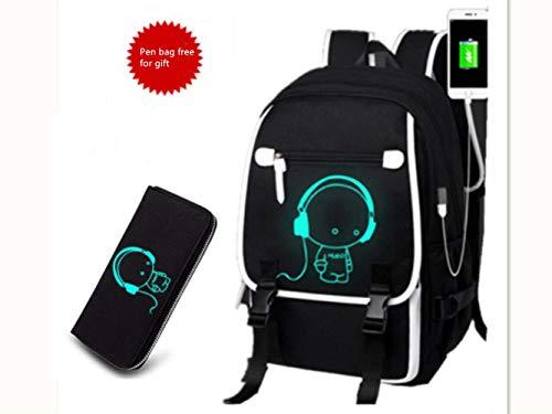 Rucksack Jugendreise leuchtende Computertasche Junior High School Studententasche mit USB-Kabel Schülertasche (Kaufen Sie eine Tasche gratis dazu one (N3)