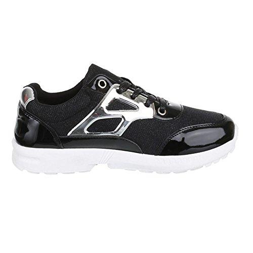 Damen Schuhe, A6015, FREIZEITSCHUHE TRENDIGE GLITTERSTOFF Schwarz