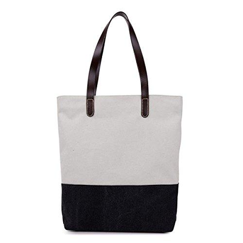 Tote Di Tela Delle Donne Borsa Casuale Retro Sacchetto Di Spalla Di Modo Lady Bag Di Grande Capacità Black