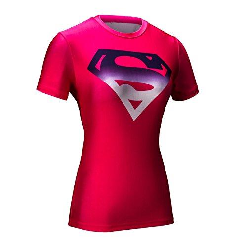 Cody lundin® Mujer compresión Camiseta Yoga Deporte Fitness Camisa de manga corta The Superman Logo Tight Camiseta, color - Superman A, tamaño M