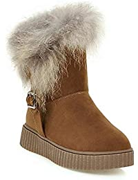Botas de Nieve de Las Mujeres del Invierno de la Hebilla de los Zapatos Calientes llenos