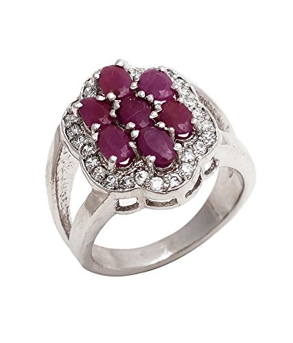 Be You impresionante rojo rubí real de las piedras preciosas de rodio plateado anillo de plata para las mujeres