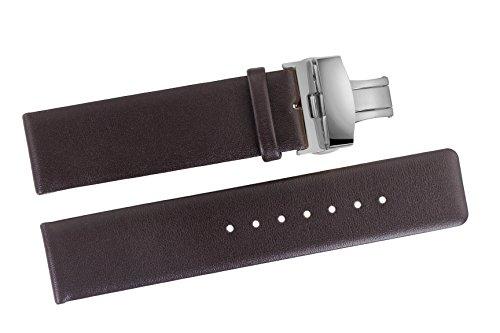 18mm Luxus Schokolade braun Leder Uhrenarmbänder glatt Soft-Rindleder ohne Muster mit Faltschliesse Schnalle