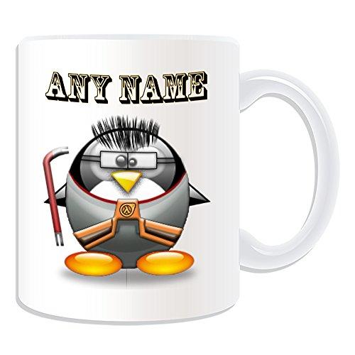 Personalisiertes Geschenk–Half Life Tasse (Pinguin in Kostüm Design Thema, weiß)–alle Nachricht/Name auf Ihre einzigartige–Gordon (Gordon Half Kostüm Freeman Life)