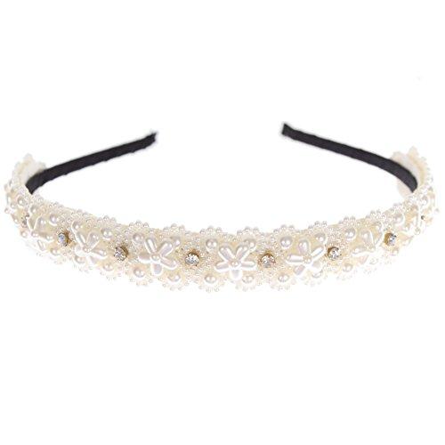 JUSTFOX - Designer Luxus Haarreifen mit Perlen und Strasssteine