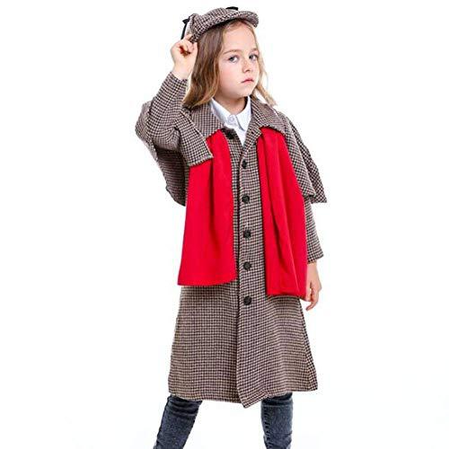 Sherlock Einfach Holmes Kostüm - QWE Große Detektivkostümrolle der Halloween-Kostümfilmfigur, die neutrale Kinderleistungskleidung spielt