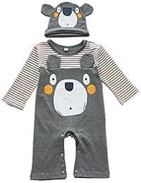 Tkria Muchachas de los beb¨¦s pijama de manga larga mono del sombrero 2PC 6-24 Meses