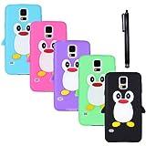 Hunye 6in1 Zubehör Set: 5 x Silikon Hülle Tasche Case Etui für Samsung Galaxy S5 Schutzhülle Pinguin Cover Schale (schwarz, grün, lila, pink, hellblau) und 1 x Stylus