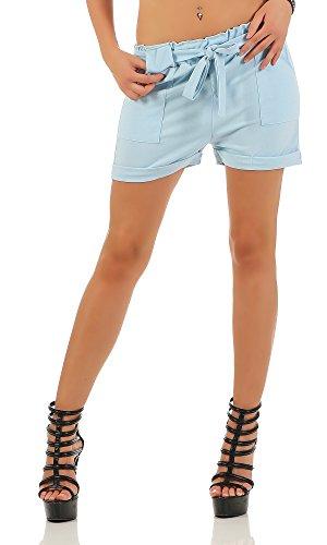 Designer Damen Sommershorts kurze Hose Sommer Shorts Hot Pants Stoff B503 Hellblau