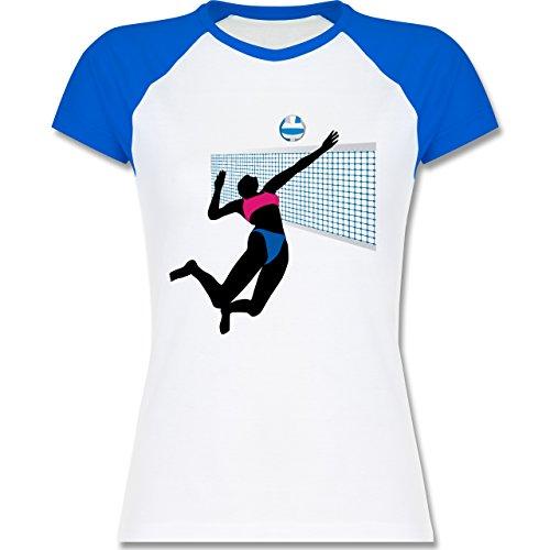 Shirtracer Volleyball - Beachvolleyballspielerin Netz Ball - Zweifarbiges Baseballshirt/Raglan T-Shirt für Damen Weiß/Royalblau