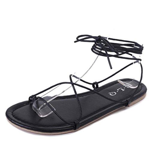 Neue Version Beach-Sandalen , Kaiki Frauen Mode Kreuz-gebundenen Knöchelriemen Boho Sandalen flache Sandalen Black