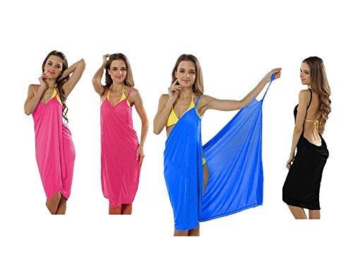 PREMIUM (2-in-1) Trendiges luftiges Strandkleid - Wickeltuch Kleid Wickelkleid Tunika Pareo Sarong Tuch Duschtuch Badetuch - BLAU (Up Cover Baumwoll Print)