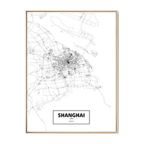 NBHHDH Bilder Auf Leinwand Moderne Schwarz-Weiß-Shanghai-Stadtkarten-Reise-Kontur-Karten-Bilder-Leinwand-Malerei-Plakat-Druck-Wand-Kunst-Ausgangsdekoration, 50 × 70Cm Kein Rahmen -