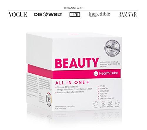 NEUJAHRSSPECIAL - HealthCube® BEAUTY, Premium Nahrungsergänzung speziell für Haut, Haare und Nägel, ALL IN ONE + Monatspackung: Wichtige Vitamine, Mineralstoffe, Omega-3 und Beauty-Wirkstoffe