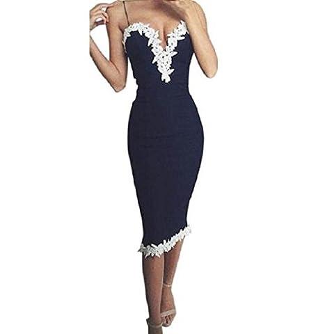 Ineternet Femmes Bodycon Col en V Floral Lace Party Soirée Ladies Robe Longue (L, Bleu)