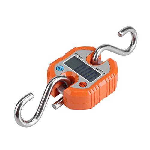 Aramox Pèse Electronique Pèse Bagage Électronique Peson Numérique Portatif avec écran LCD Crochet 150kg/300lb(Orange)