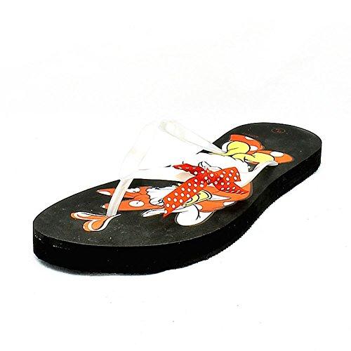 Signore piane nero margherita sandali anatra dettaglio flip flop Black