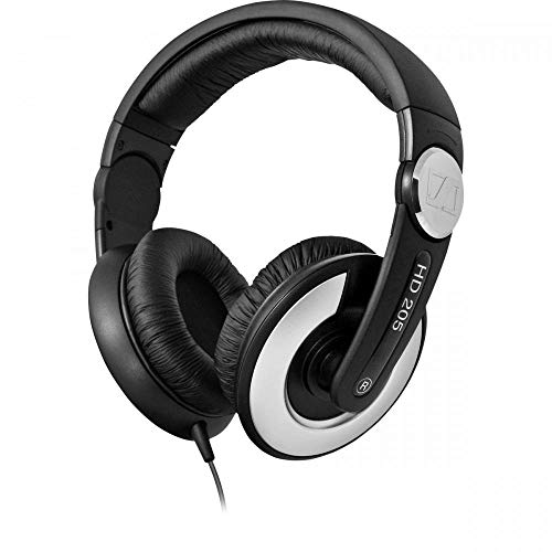 Sennheiser HD 205 II Closed Back Around Over-Ear Stereo Headphone and Rotatable Ear Cup (Black)