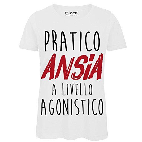 CHEMAGLIETTE! T-Shirt Divertente Donna Maglietta con Stampa Frasi Ironiche Pratico Ansia Tuned, Colore: Bianco, Taglia: S