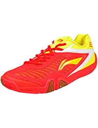 Li-ning AYTH067-2 SAGA ACE RED/YELLOW Badminton Shoes Size-5.5
