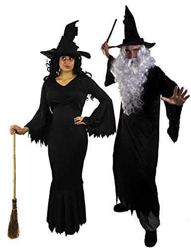 ILOVEFANCYDRESS Hexe Zauberer Paar=Halloween Karneval Fasching VERKLEIDUNGEN = Zauberer/Robe+PERÜCKE+BART+Hut/ZAUBERSTAB=Hexe/Kleid+Hut+ZAUBERSTAB= Zauberer-SMALL+Hexe-XXXLarge (Morticia Und Gomez Addams Paare Kostüm)