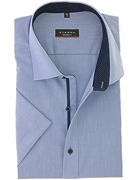 ETERNA Modern Fit Hemd Halbarm mit Besatz New Kent Kragen mittelblau