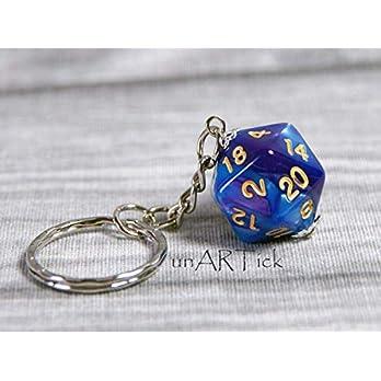 Schlüsselanhänger 20-seitiger Würfel, dunkelblau lila, W20, Rollenspiel, Tabletop,