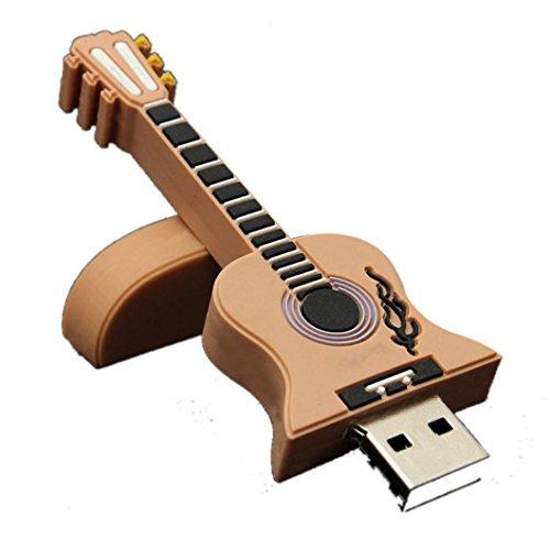Zarupeng 1 GB / 2 GB / 4 GB / 8 GB / 16 GB / 32 GB USB 2.0 Estilo de metal Guitarra Memoria Almacenamiento Flash Thumb Stick U Disco (16 GB, Caqui)