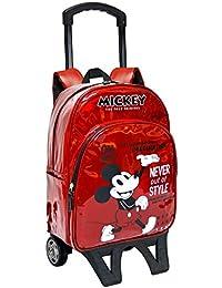 Toy Bags Mochila Escolar con Ruedines Mickey Mouse/Mochila Mickey Mouse con Ruedas, Rojo