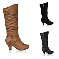 CORE COLLECTION Womens Ladies Mid Heel Winter Twin Buckle Zip Calf Knee Riding Shoes Boots Size