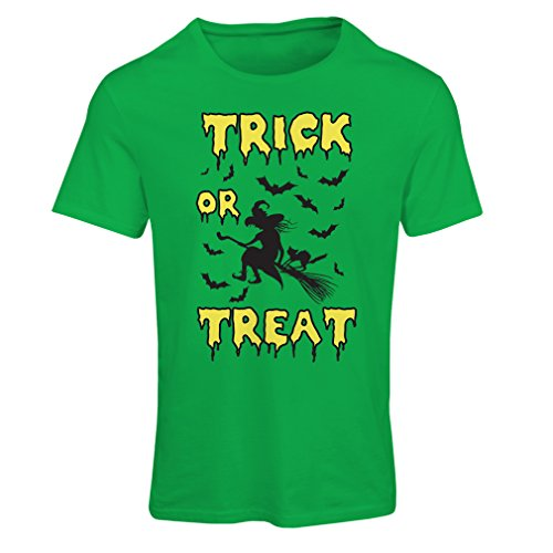 Frauen T-Shirt Trick or Treat - Halloween Witch - Party outfites - Scary Costume (Medium Grün Mehrfarben)