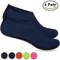 Nlife Barefoot Water Shoes Aqua Socks Arena Socks for Beach Surf Pool Swim Yoga Aerobics Barefoot Agua Guantes Aqua Calcetines Calcetines Arena para Beach Surf Pool Swim Yoga Aerobic (1pair, M–XXXL), azul marino