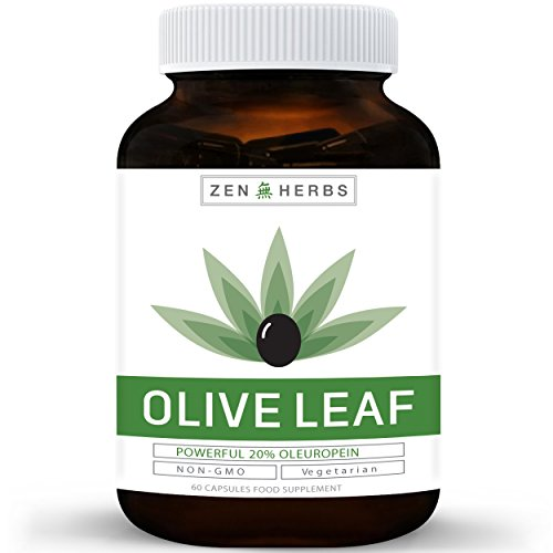 Best Olive Leaf Extract (Non-GMO) Super Strength: 20% Oleuropein - 750mg -  Vegetarian - Immune Support, Cardiovascular Health & Antioxidant Supplement