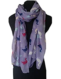 Lilac with multi coloured duck pattern long Scarf, Soft Ladies Fashion London