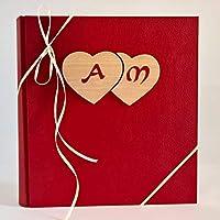 Album fotografico innamorati ROSSO leather + cuori legno intrecciati e iniziali personalizzabili idea regalo San Valentino, NOZZE, WEDDING, ANNIVERSARIO, Pasqua 2018