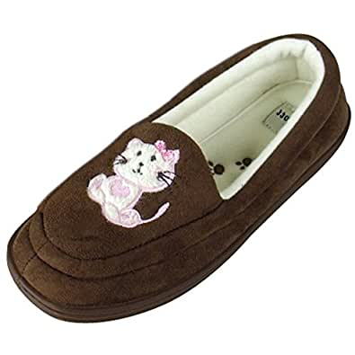 Ladies Moccasin Cat Slipper Warm Luxury Moccasins Slippers Womens Size UK 7