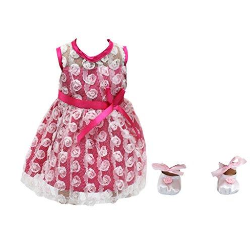 Sharplace Puppen Spitzen Kleid mit Tanzschuhe Outfit Set Für 18 Zoll Mädchen Puppen Dress up Zubehör