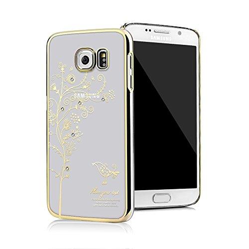 Galaxy S6 Funda Transparente Crystal PC Dura Case - Mavis's Diary® Bling Diamantes Estuche Rígido Carcasa para Samsung Galaxy S6 Diseño Flor de la vid (Dorado)