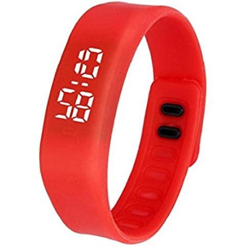 Tongshi Para mujer para hombre del reloj de goma LED Fecha Deportes reloj digital pulsera (rojo)