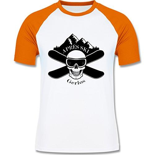 Après Ski - Apres Ski Gerlos Totenkopf - zweifarbiges Baseballshirt für Männer Weiß/Orange