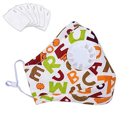 Lyanty Staubmaske für Kinder, N95-Maske, waschbar, Baumwolle, mit Ventil, austauschbarer Filter (eine Maske + 6 Filter)