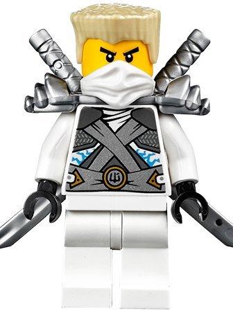LEGO Ninjago: Minifigur Titanium Zane mit Schulterrüstung und zwei Katanas (Schwerter) NEU 2014
