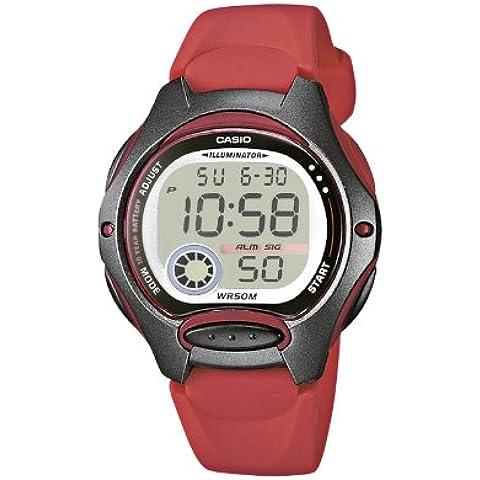 CASIO Collection LW-200-4AVEF - Reloj de caballero de cuarzo, correa de resina color rojo (con cronómetro, alarma,