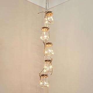 Beleuchtete Echtglas Deko Einmach-Gläser gefüllt mit Silberdraht Lichtern, batteriebetrieben, 15 LEDs in warmweiß, 68cm, von Festive Lights