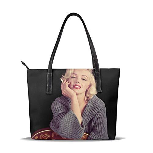 Pelle Borsa Marilyn Monroe Guitar Cigarette Leather Tote Shoulder Bags Handbags For Women Girl Or Student
