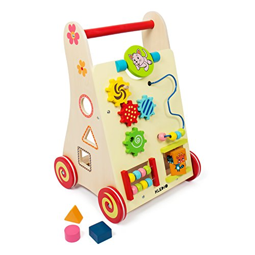 Kledio Kinder Activity Lauflernwagen aus Holz FSC 100%, Baby Lauflernhilfe mit Bausteinen und vielen weiteren Funktionen, Laufwagen für Kinder ab 1 Jahr geeignet