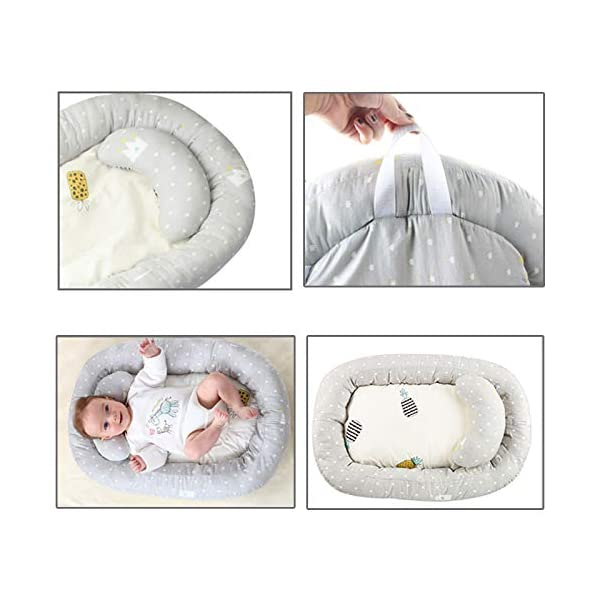 Moonvvin Portable Baby Lounger Breathable Hypoallergenic Co-Sleeping Baby Cot Bed Portable Crib for Bedroom/Travel  We use 100-percent cotton fabric and breathable, hypoallergenic internal filler, which is safe for baby's sensitive skin. It will give your child serene, safe, and sound sleep in their lovely co sleeping crib. Your child will feel comfortable and safe in our soft newborn lounger. Such a secure sleeper will allow your baby to have deep and nice sleep as little ones love the imitation of a stay in the mother's womb. It helps with common newborn sleep issues like wanting to sleep in a parent's arms or frequent waking. Use the infant lounger as a bassinet for a bed, side sleeper, travel bed, newborn pillow, changing station or move it around the house for lounging or tummy time, making baby feel more secure and cozy. The lightweight design and easy-to-use package with handle make our in bed bassinet a portable baby must-have. 4